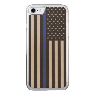 警察の薄いブルーライン米国旗を支えて下さい CARVED iPhone 8/7 ケース