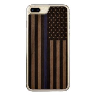 警察の薄いブルーライン米国旗を支えて下さい CARVED iPhone 8 PLUS/7 PLUS ケース