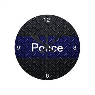 警察はブルーラインダイヤモンドのプレートの時計を薄くします ラウンド壁時計