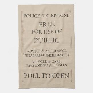 警察公共呼出し電話箱の通知 タオル