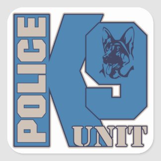 警察K9の単位犬 スクエアシール