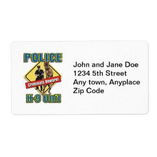 警察K9の犯罪者は用心します ラベル
