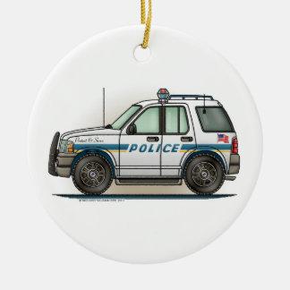 警察SUVの巡洋艦車の警察官車のオーナメント セラミックオーナメント