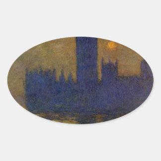 議会、クロード・モネ著日没02の家 楕円形シール