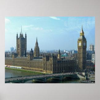 議会-ロンドンのビッグベンそして家 ポスター