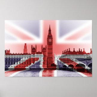 議会、英国国旗のビッグベンそして家 ポスター