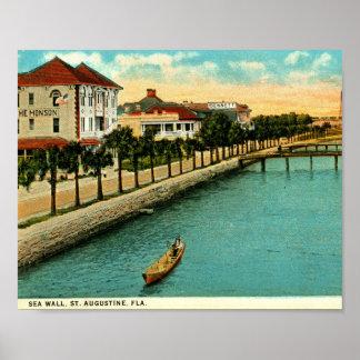 護岸、セントオーガスティン、フロリダのヴィンテージ ポスター
