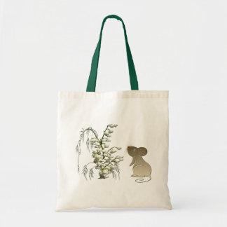 谷のバッグ、ユリおよびかわいいマウス トートバッグ