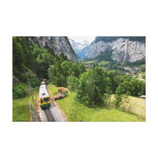 谷、スイス連邦共和国-キャンバスプリント--をlauterbrunnen キャンバスプリント
