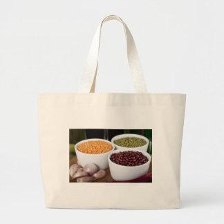 豆およびニンニクの布の買い物袋 ラージトートバッグ