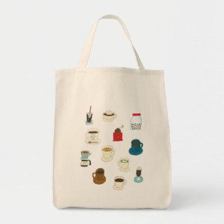 、豆、及び粉砕機手描きのコーヒー トートバッグ