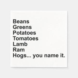 豆、緑、ポテト、トマト… スタンダードカクテルナプキン