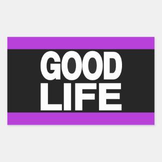 豊かな生活の長く紫色 長方形シール