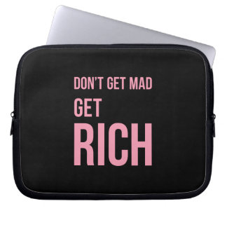豊富なお金の引用文に感動的なピンクの黒を得て下さい ラップトップスリーブ