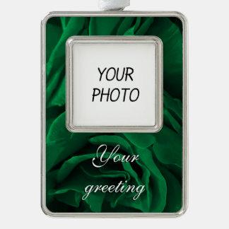 豊富なエメラルドグリーンのビロードのようなバラの花柄の写真 シルバープレートフレームオーナメント