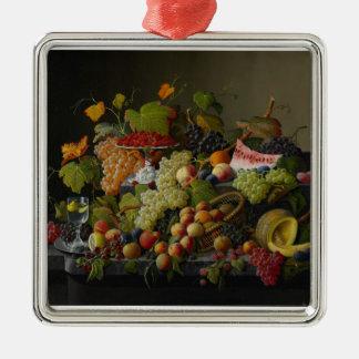 豊富なフルーツ1858年(キャンバスの油) シルバーカラー正方形オーナメント