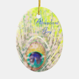 豊富な喜びの孔雀のオーナメント 陶器製卵型オーナメント