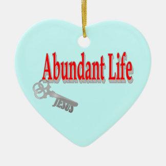 豊富な生命: 鍵- v1 (ジョン10: 10) 陶器製ハート型オーナメント