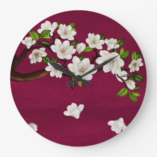 豊富な赤およびクリームのマグノリアの円形の(大きい)時計 ラージ壁時計