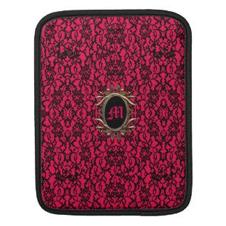 豊富な赤のゴシック様式黒いレース iPadスリーブ