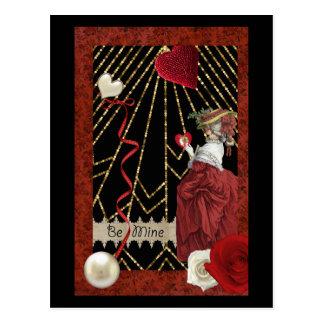 豊富な赤のMarieアントワネットのファッションのバレンタイン ポストカード