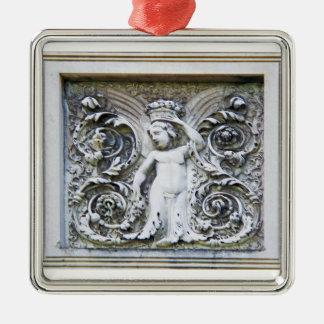 豊富のオーナメントの石造りの天使 シルバーカラー正方形オーナメント