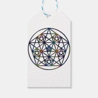 豊富の生命の神聖な幾何学のフラクタル ギフトタグ