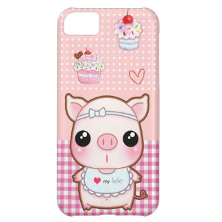 豚のようなかわいいベビーおよびかわいいのカップケーキ iPhone5Cケース