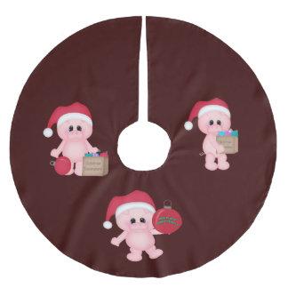 豚のような助手のクリスマスツリーのスカート ブラッシュドポリエステルツリースカート