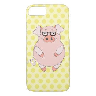 豚のような黄色い及びピンクの水玉模様 iPhone 8/7ケース