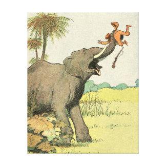 象およびハンターの物語の本のスケッチ キャンバスプリント
