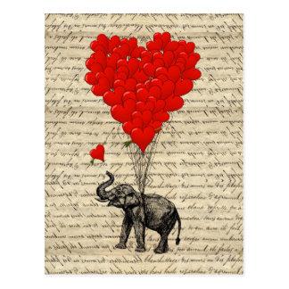 象およびハート形の気球 ポストカード