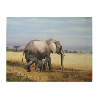 象および子牛の油絵 ウッドウォールアート