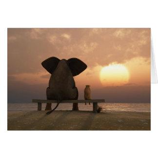 象および犬の友人のメッセージカード カード