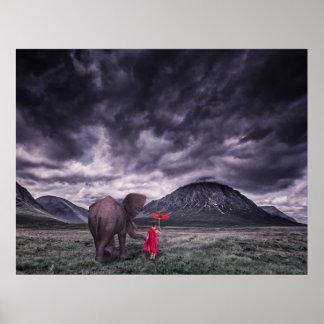 象および男の子のbuddahの超現実的なファンタジーの芸術ポスター ポスター
