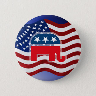 象および米国Flag.tif 缶バッジ
