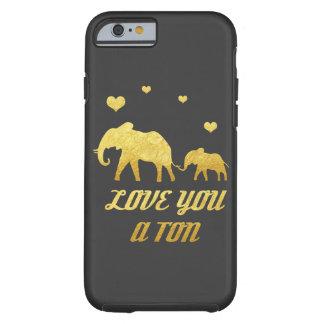 象のお母さんおよび赤ん坊の模造のな金ゴールドのハートのiPhone 6 ケース
