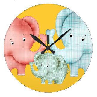 象のお母さんのパパおよびベビーの系列 ラージ壁時計