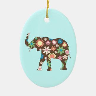 象のかわいいファンキーなレトロの花柄の花のカラフル セラミックオーナメント