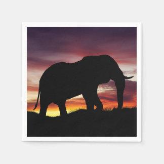 象のアフリカのサファリの日没の景色 スタンダードカクテルナプキン
