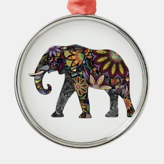 象のカラフル メタルオーナメント