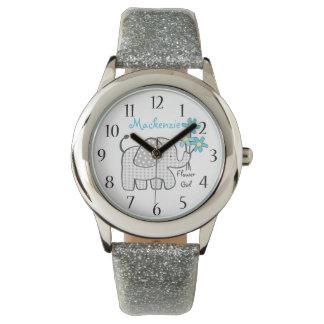 象のギンガムのフラワー・ガール 腕時計