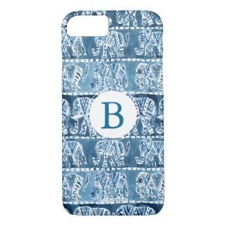 象のサファリのBohoの種族のインディゴのモノグラム iPhone 8/7ケース