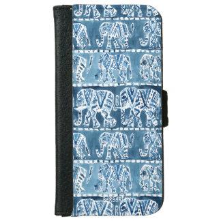 象のサファリのBohoの種族のインディゴ iPhone 6/6s ウォレットケース