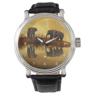 象のトリオの野性生物の腕時計 リストウォッチ