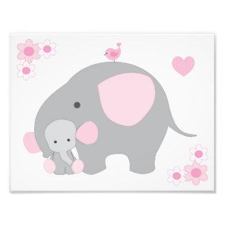 象のピンクの灰色の灰色の子供部屋の女の赤ちゃんの壁の芸術 フォトプリント