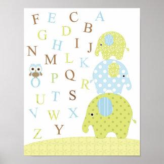 象のフクロウのアルファベットポスター ポスター