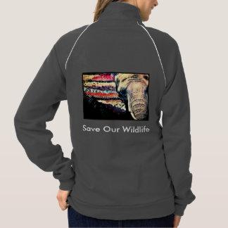 象のフリース ジャケット