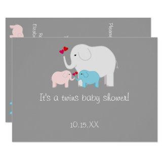 象のベビーシャワーは男の子の女の子を結び付けます カード