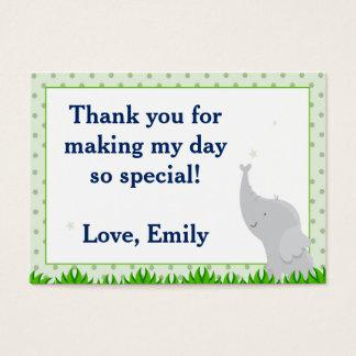 象のポルカの緑の誕生日プレゼントのメッセージカードのラベル 名刺